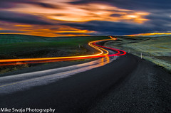 Pathway to Paradise (Michael Swaja Photography) Tags: rufus oregon or nature nikon north central valley scenery landscape night sunset weather clouds road light painting trails reflection color colors beauty