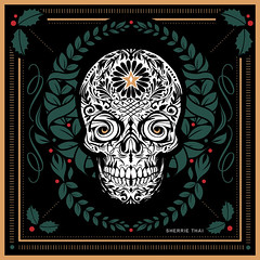 Christmas Day of the Dead Skull Wreath: Art by Sherrie Thai of Shaireproductions.com (shaire productions) Tags: christmas xmas art design digital creative sf graphic logo holidays seasonal skull dayofthedead halloween dark horror star wreath holly leaves nature death muertos diadelosmuertos skeleton