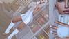 Winter Retreat (Ary McAuley) Tags: avale reign rebel hope opale michan livia westside llorisen mesh india fameshed tres chic anybody avenue posevent cosmopolitan sl second life fashion blog outfit blonde white hair cozy dress knit legwarmers fur pompom phone home books shelf nailart