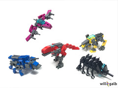 Dinozords (willgalb) Tags: lego moc figure toy movie comic tv reboot dinosaurs dinozords megazord power rangers mighty morphin 1993 2017 tyrannosaurus triceratops mastodon pterodactyl sabertooth tiger yellow blue black red pink