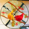 Glass Table with Cardinals (Timothy Valentine) Tags: 2017 cardinal large squaredcircle birds table glass 1217 abington massachusetts unitedstates us