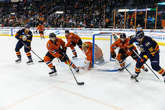 "Kansas City Mavericks vs. Colorado Eagles, December 16, 2017, Silverstein Eye Centers Arena, Independence, Missouri.  Photo: © John Howe / Howe Creative Photography, all rights reserved 2017. • <a style=""font-size:0.8em;"" href=""http://www.flickr.com/photos/134016632@N02/39138141651/"" target=""_blank"">View on Flickr</a>"