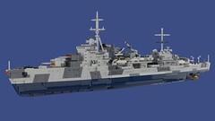 Light Cruiser Chimay (1939) (Lego Pilot) Tags: lego ldd lightcruiser ship trappist dc achtfaden blender nürnberg