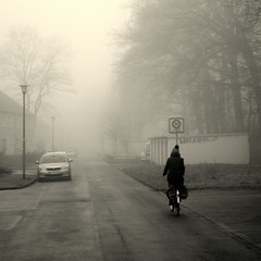Mist (Bernhardt Franz) Tags: mist nebel person cyclist car street trees blackandwhite bw lamp sign garage building facades fog