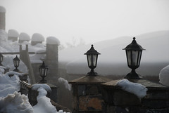 (jimiliop) Tags: lamps fog winter snow cold number five four perspective lines