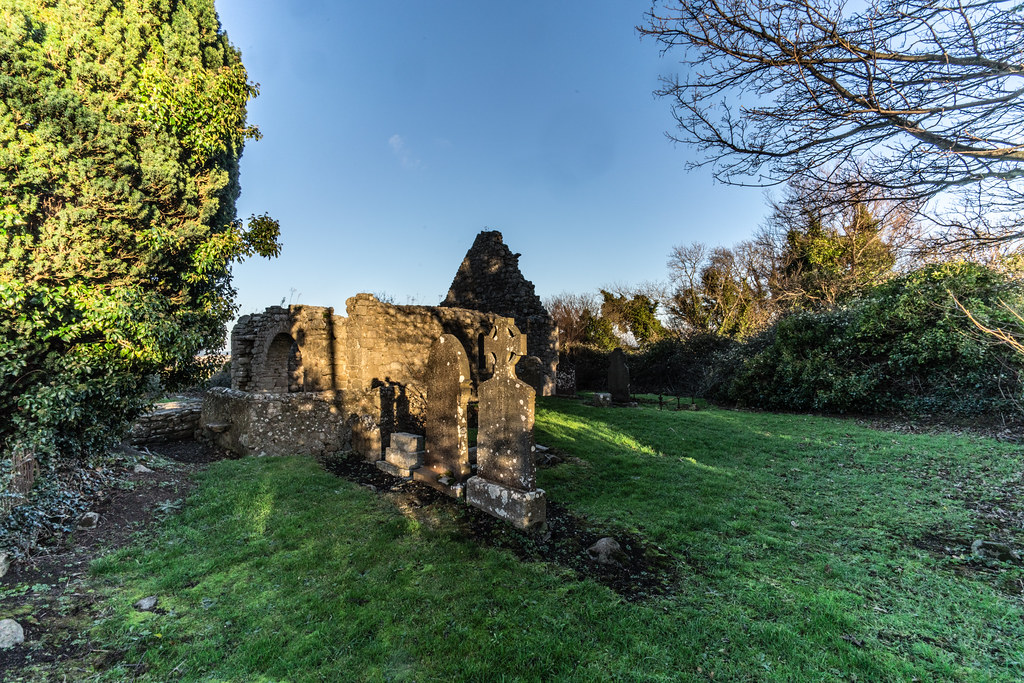 ANCIENT CHURCH AND GRAVEYARD AT TULLY [LAUGHANSTOWN LANE NEAR THE LUAS TRAM STOP]-134597