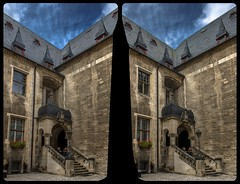 Quedlinburg Town Hall 3-D / Stereoscopy / CrossEye / HDR / Raw (Stereotron) Tags: sachsenanhalt saxonyanhalt ostfalen harz mountains gebirge ostfalia hardt hart hercynia harzgau quedlinburg rathaus townhall architecture medieval middleages gothic gotik europe germany crosseye crosseyed crossview xview cross eye pair freeview sidebyside sbs kreuzblick 3d 3dphoto 3dstereo 3rddimension spatial stereo stereo3d stereophoto stereophotography stereoscopic stereoscopy stereotron threedimensional stereoview stereophotomaker stereophotograph 3dpicture 3dglasses 3dimage hyperstereo twin canon eos 550d yongnuo radio transmitter remote control synchron kitlens 1855mm tonemapping hdr hdri raw