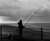 Sea Angler (kenemm99) Tags: seaangler landscape winter shore sea 5dmk3 morecambebay bw sfex canon nik places kenmcgrath stonejetty