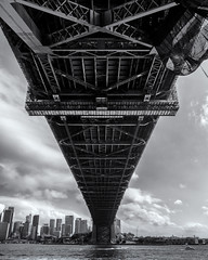 Sydney (Bill Thoo) Tags: sydney nsw milsonspoint newsouthwales australia harbour bridge sydneyharbour sydneyharbourbridge monochrome bnw blackandwhite landscape travel city urban cityscape built engineering architecture metal below underneath sony a7rii icle7rm2 zeiss batis 18mm water
