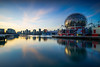 Sunset at Science world (Luke Sergent) Tags: architecture bc beautiful british building buildings canada canadian city cityscape columbia creek downtown evening false harbor landmark luxury modern night reflection science skyline sunset tourism travel urban vancouver view water waterfront world
