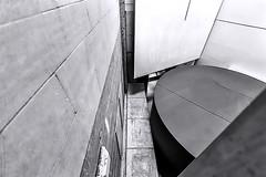 Atrium National Museum of Scotland_G5A5565 (ronniefleming@btinternet.com) Tags: bw blackandwhite ph31fy ronniefleming nationalmuseumofscotland lines angles shapes textures oldandnewwallpanels detail architectural garethhoskinsarchitects ralphappelbaumassociates