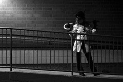 RWBY (Bo Dudas) Tags: cosplay rwby monotone blackwhite bw wall bricks rail stairs steps dance pose attitude sidelit balance nightmare angle walkway costume noir dark night alley
