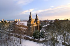 A winter wonderland in Old Aberdeen (St Machar's Cathedral) (iancowe) Tags: stmacharscathedral stmachars st machars cathedral old aberdeen oldaberdeen seaton park winter december christmas aerial drone dji phantom 4 pro scotland scottish snow snowy
