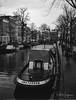 Boat @ Amsterdam (PaulHoo) Tags: fujifilm ga645 film analog blackandwhite ilford delta 400 mediumformat 645 amsterdam city people urban candid 2017 boat vintage cityscape nostalgic building architecture