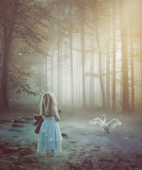 Swan (RoCafe Off for a while) Tags: photomanipulation ps photoshop forest girl swan fantasy conceptual beautiful soft softcolors hss sliderssunday fairytale