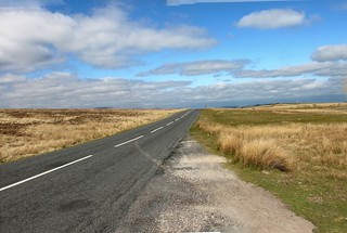 Desolate road across Shap Fell.