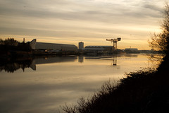 The River Clyde Sunrise (ALANSCOTT1) Tags: riverclyde sunrise winter ice river glasgow shipbuilding braehead scotland city industrial cityscape urban