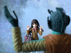 Uzuki's Blind Date (Sasha's Lab) Tags: uzuki shimamura 島村卯月 greedo idolmster star wars high school uniform girl teen alien green action figure toy