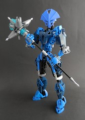 Toa Helryx (Kingmarshy) Tags: bionicle moc lego system fusion mask 3d print printed shapeways female woman proportions mace weapon water blue