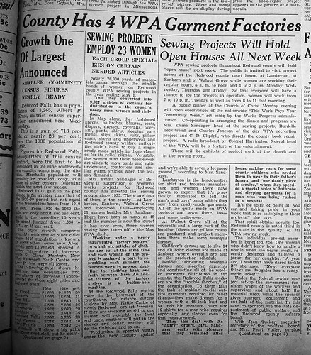 4 WPA garment factories in RDWD Co May 1940-1