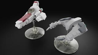 Microscale Battlestar Galactica fleet