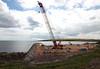 Merry Christmas. (HivizPhotography) Tags: weldex kobelco sl6000 crawler crane ahep aberdeen heavy lifting harbour sun cloud blue boom lattice construction concrete infrastructure
