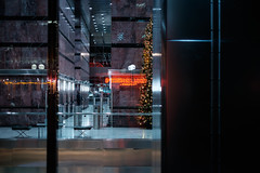 Office Christmas Party (That James) Tags: office christmas party christmasparty xmasparty xmas security guard canary wharf glass window reflections neon steel mirrored marble commerce commercial capitalist tree christmastree talltree commercialdistrict business corporate offices lobby