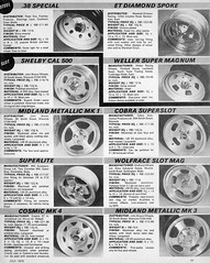 Aftermarket wheels 1975 (Lawrence Peregrine-Trousers) Tags: 1975 alloy aftermarket mag wide wheels car accessory hot custom 70s cobra wolfrace 100 mamba revolution 8spoke 4spoke aluminium cast steel magazine ad advert scans ffffffffff autoshite motoring supaslot slot 38 special et diamond weller super magnum cal 500 shelby superslot superlite midland metallic mk1 mk2 cosmic mk4