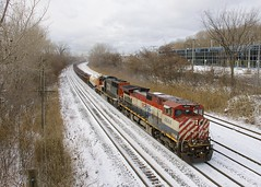 One of three (Michael Berry Railfan) Tags: bcol4644 cn5727 ge generalelectric dash9 dash944cwl bcrail bcol sd75i emd gmd cnx324 cn324 villestpierre lachine montreal quebec train freighttrain snow