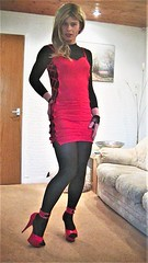 I'm thinking of wearing this to a Christmas meal tomorrow but not sure (Miss Nina Jay) Tags: trannie heels tights