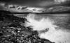 Rocky Spray (-- Q --) Tags: strandhill sligo atlanticocean atlanticcoast wildatlanticway ireland shore waves clouds rocks lee09softgrad lee06softgrad marumidhgcpl atmosphere qthompson monochrome