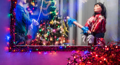 the piñata room (pbo31) Tags: livermore boury pbo31 bayarea eastbay alamedacounty nikon d810 color night california holidays season christmas dark motionblur lights deacondaves house christmastree magenta tinsel window piñata children