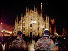 Besieged (Steve Lundqvist) Tags: besiege people military soldier rear back italia italy milano milan duomo square piazza fujifilm x100 x100s streetphotography street night low light cathedral gothic attack terrorist camouflage camo army war security