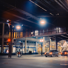 untitled-51-Edit (dvlmnkillatron) Tags: film yashicamat124 mediumformat 120 analog 6x6 square intersection selfdeveloped cta tracks evening night filmatnight chicago tlr twinlensreflex