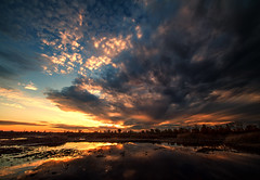 Fire sunset over Yolo (Middle aged Nikonite) Tags: sunset glow sky clouds vivid reflection outdoor landscape sacramento yolo bypass nikon d750 nature irix 11mm wide angle