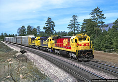 Santa Fe All The Way (jamesbelmont) Tags: santafe atsf kodachrome ge c307 ponderosapine cosnino arizona flagstaff sd45 emd railway transcon