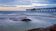 Catherine hill bay (brideymulder11) Tags: brideymulder sunset ocean sea water sky beach longexposure slow filter rock dock