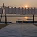 Lever de soleil sur les ghats des dhobis, Bénarès, Uttar Pradesh, Inde