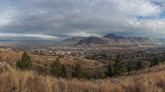 From the hillsides of Kamloops (beyondhue) Tags: kamloops city hill thompson river bc transcanada beyondhue pano mountains canada fall autumn grass town british columbia