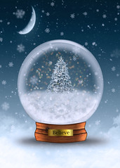 Believe (Cat Girl 007) Tags: snowglobe believe snow shiny magic sphere ball xmas winter white christmas holiday celebration dome december glass globe season object seasonal nobody merry sparkle magical tree still shimmer crystal blue bokeh crystalball glittering photomanipulation vertical surreal