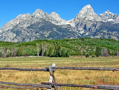 Grand Teton Ranch, WY 2011 (inkknife_2000 (8.5 million views +)) Tags: grandteton wyoming peaks mountains ranch meadows crags dgrahamphoto polefence cabin raggedpeaks