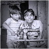 Together (Pejasar) Tags: boy man father son sewing machine work job family bw blackandwhite delhi india