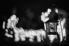 A bokeh of bubbles (PeterThoeny) Tags: cupertino siliconvalley sanfranciscobay sanfranciscobayarea christmas christmaslight decoration christmasdecoration light lights blur outoffocus depthoffield bokeh monochrome blackandwhite sony sonya7 a7 a7ii a7mii alpha7mii ilce7m2 fullframe dreamlens vintagelens canon50mmf095 f095 canon 1xp raw photomatix hdr qualityhdr qualityhdrphotography fav200