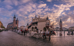 Krakow old town square (Vagelis Pikoulas) Tags: krakow poland travel tokina panorama panoramic pano view landscape city cityscape canon 6d november autumn 2017 sky clouds