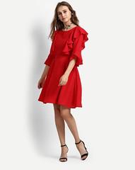 Red Elaine Ruffles Skater Dress for Women (neha.thakur35) Tags: womendresses dressesforgirls dressesonline