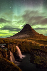 Kirkjufellsfoss Northern Lights (optimalfocusphotography) Tags: night northernlights landscape nature stars reflections nightphotography longexposure clouds iceland waterfall fall water autumn aurora europe reflection mountain