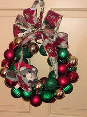2017-12-23  Not a creature was stirring..... (jjjj56cp) Tags: christmas wreath christmaswreath crafts handmade mycrafts ribbon ornaments mouse merrychristmas iphone jennypansing