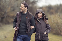 Winter Couple on the Shoot (AlexanderMoore) Tags: alexandermoore christmas festive snow snowball flurry winter yorkshire rydale fashion model clothing location snowy car red tree portrait man woman couple love partner together shooting pheasants pheasant hunting