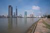 . (Out to Lunch) Tags: saigon ho chi minh city vietnam skyline sky river reflection urban urbanization blue fuji xt 1 voigtlander 4515mm super wide heliar iii