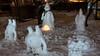 Snowmen in our garden (Mika Lehtinen) Tags: snowman snowmen finland wet snow night dark